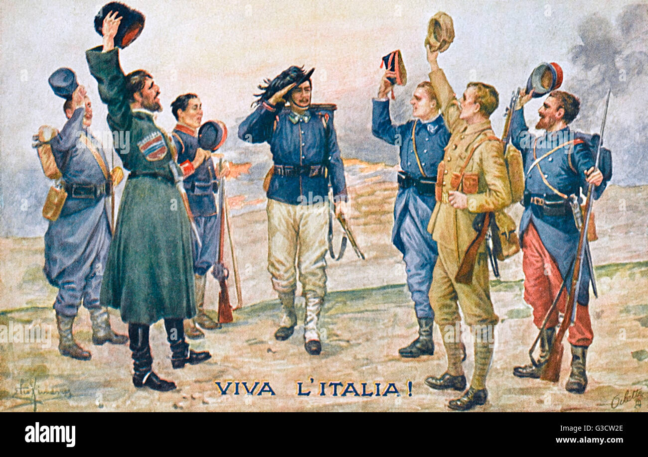 Viva litalia ww1 allegory the allies greet the arriving stock ww1 allegory the allies greet the arriving italian soldier banded together to face the foe date circa 1916 m4hsunfo