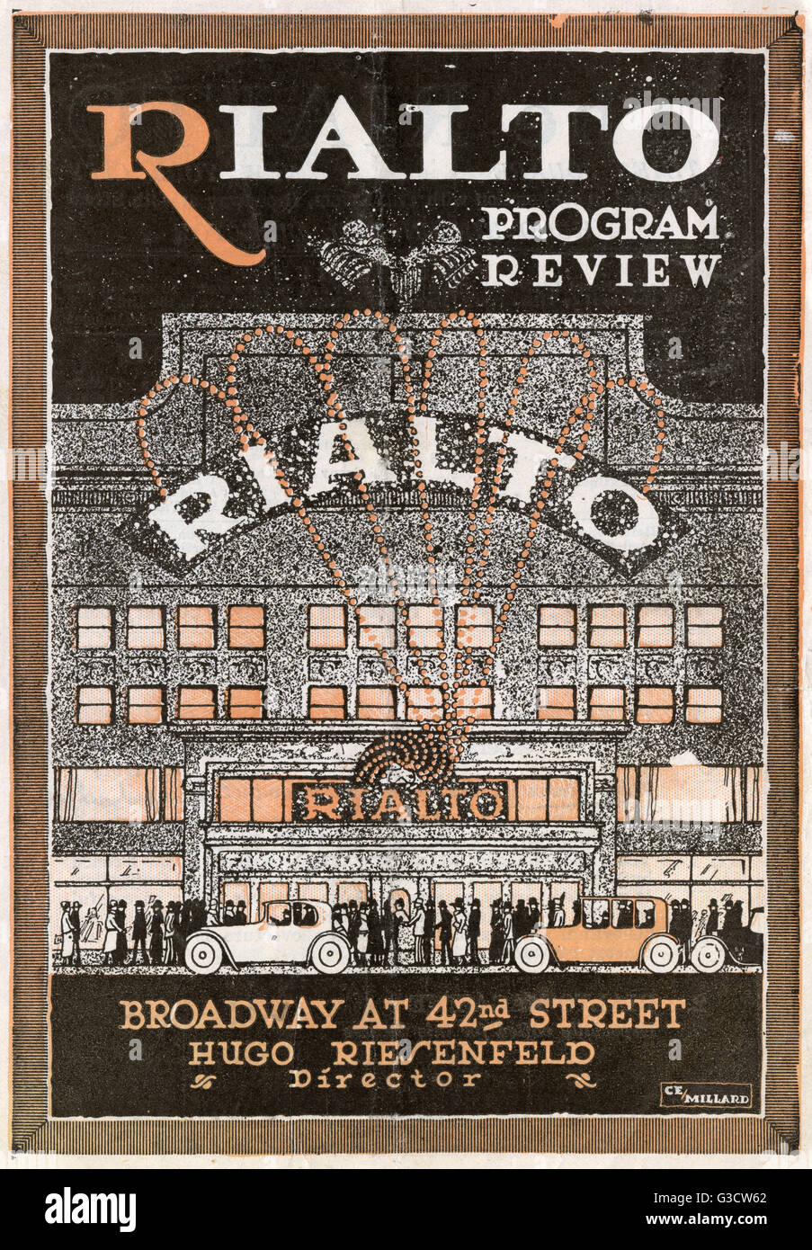 Programme cover for the Rialto Theatre, Broadway at 42nd Street, New York, USA, Director Hugo Riesenfeld, February - Stock Image