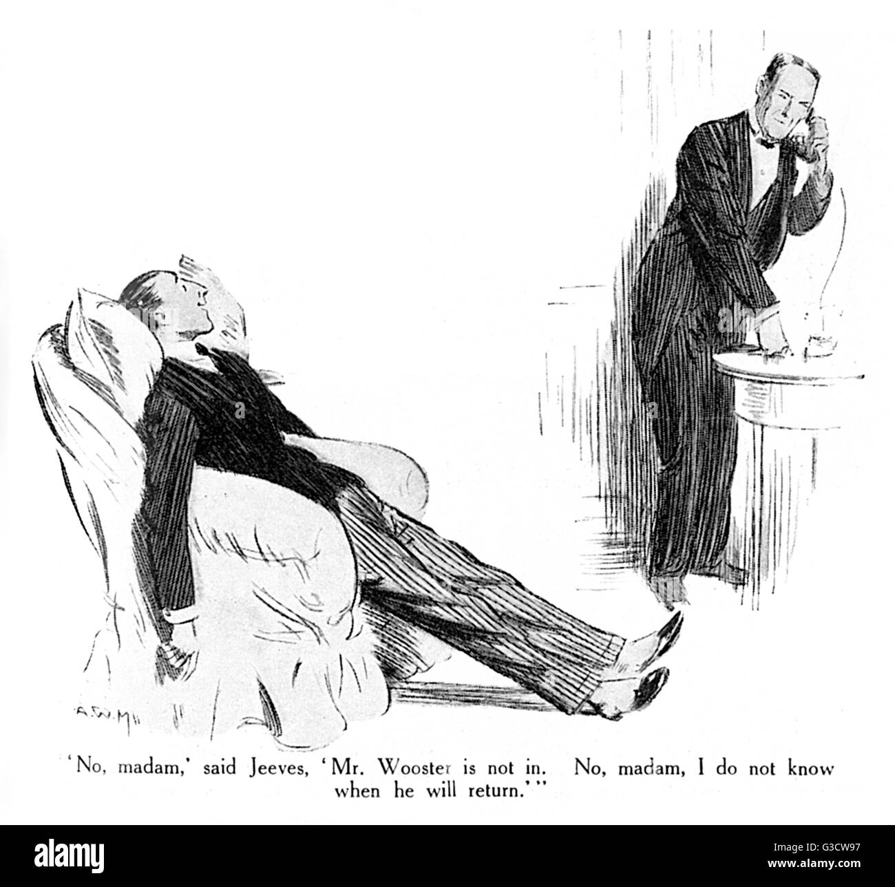 Jeeves and Wooster, P.G. Wodehouse story in The Strand, March 1922, entitled 'Sir Roderick Comes to Lunch'. - Stock Image