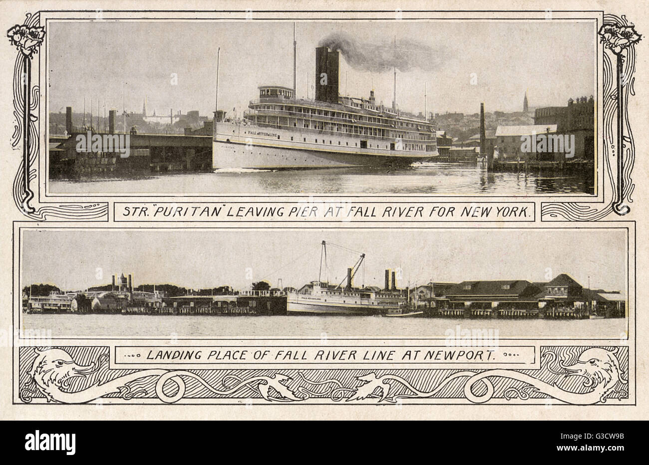 The river steamer Puritan, leaving the pier at Fall River, Massachusetts, on the way to New York (above) and the - Stock Image