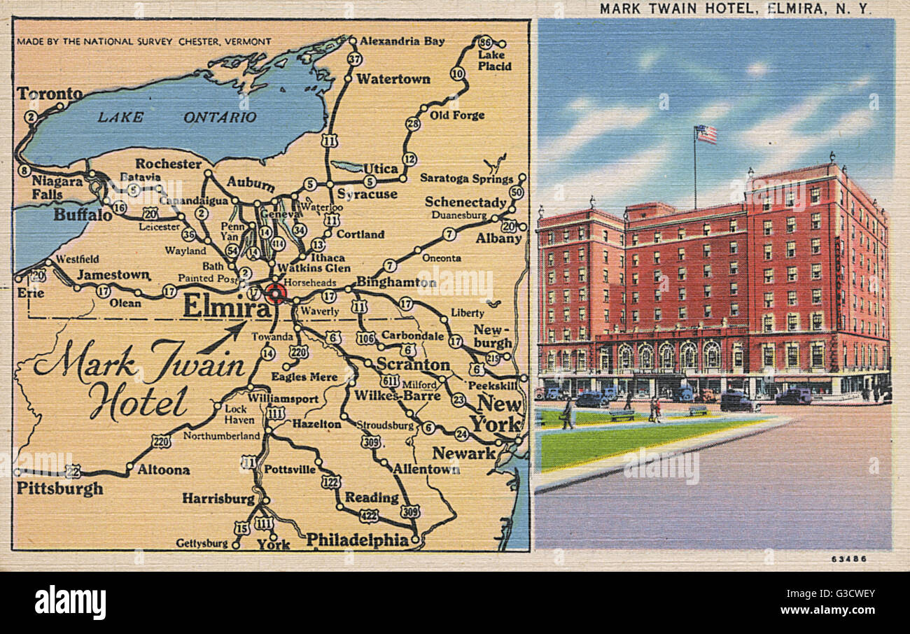 Mark Twain Hotel and map Elmira New York State USA Date Stock