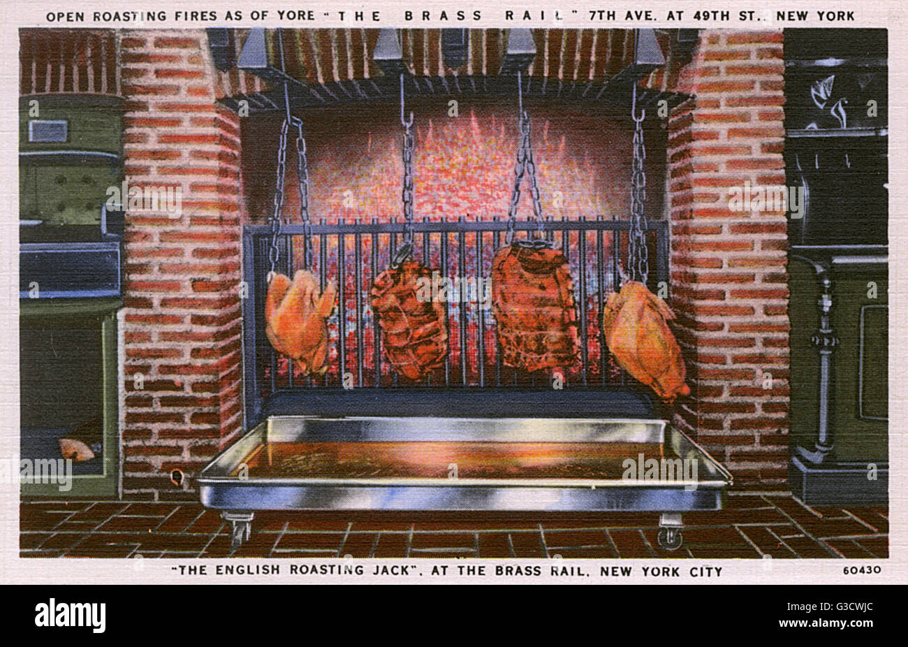 The Brass Rail restaurant, 7th Avenue and 49th Street, New York City, USA, showing meat cooking in front of burning - Stock Image