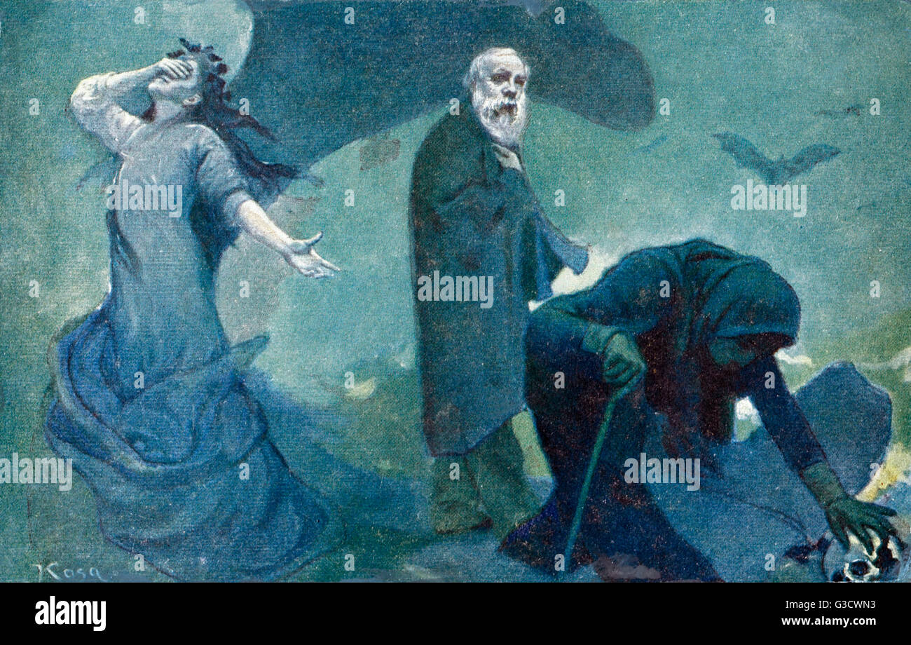 The Departure of Genius by E Kosa - A painting mouring the passing of Jaroslav Vrchlicky (1853-1912) - one of the Stock Photo