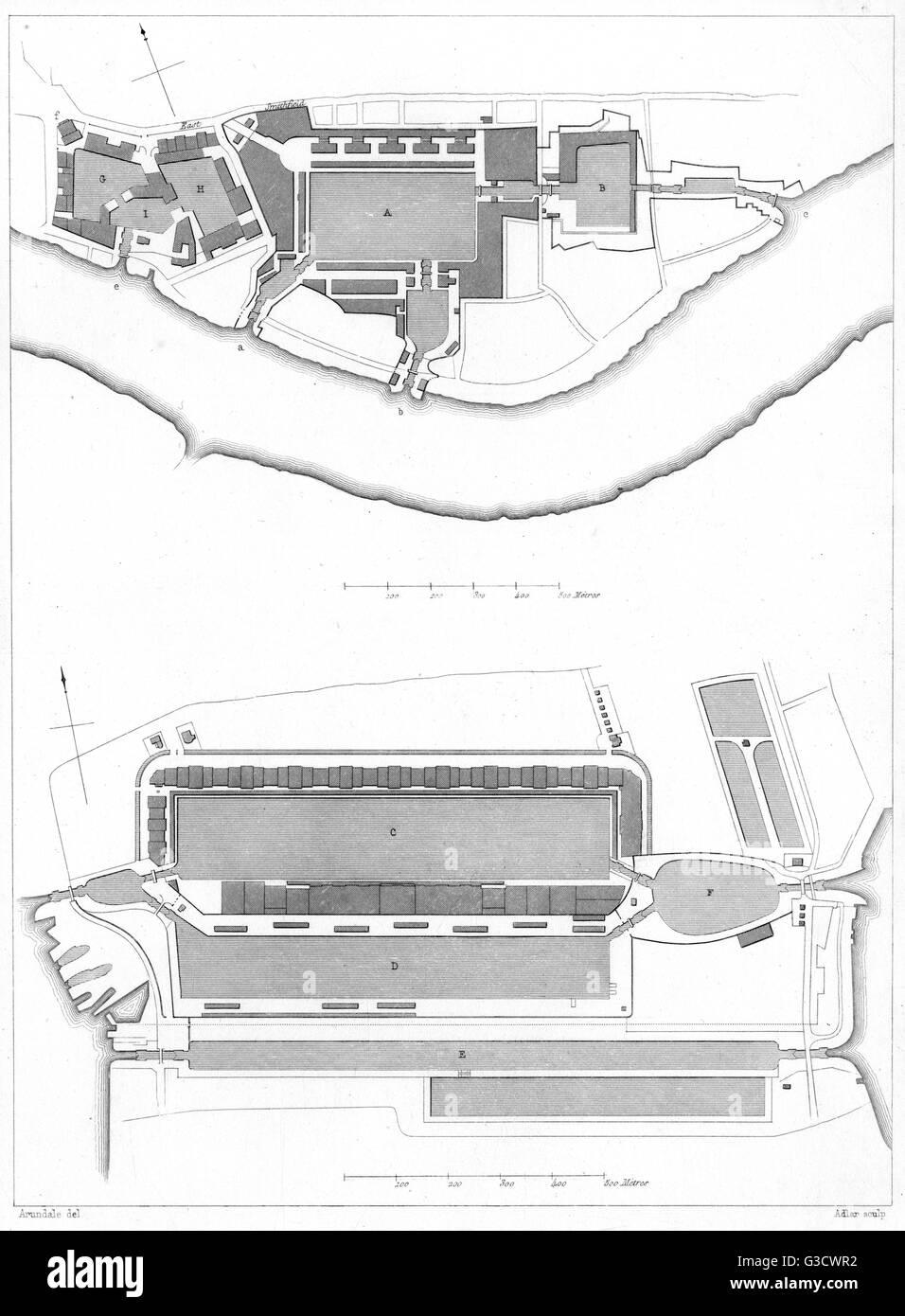 London Docks - St Catherine's and West India Docks - map/plan views     Date: circa 1855 - Stock Image