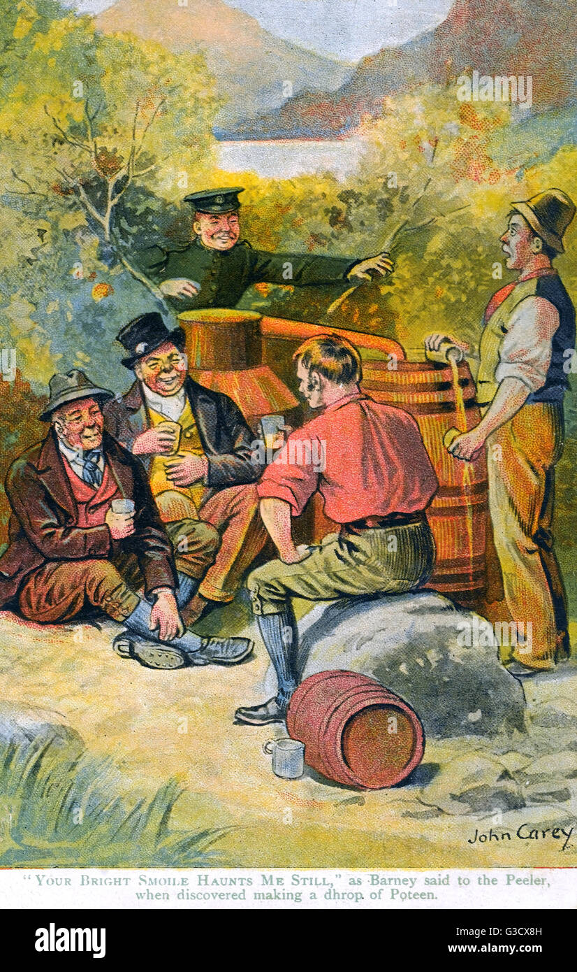 Group of Moonshiners brewing Poteen caught by a Peeler     Date: circa 1905 - Stock Image