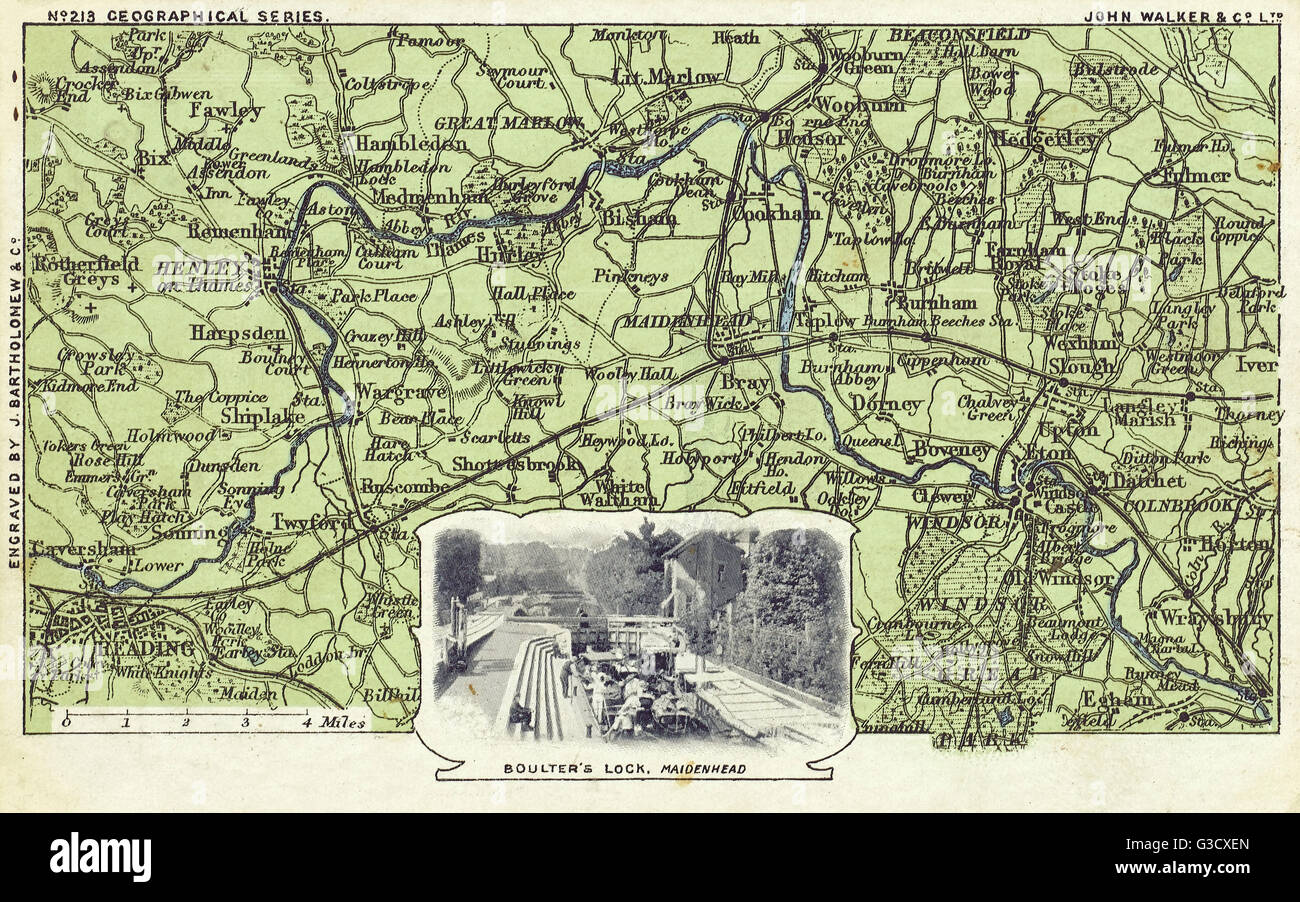 A map of Berkshire (showing the area from Reading eastwards to Windsor) and an inset photograph of Boulter's Lock Stock Photo