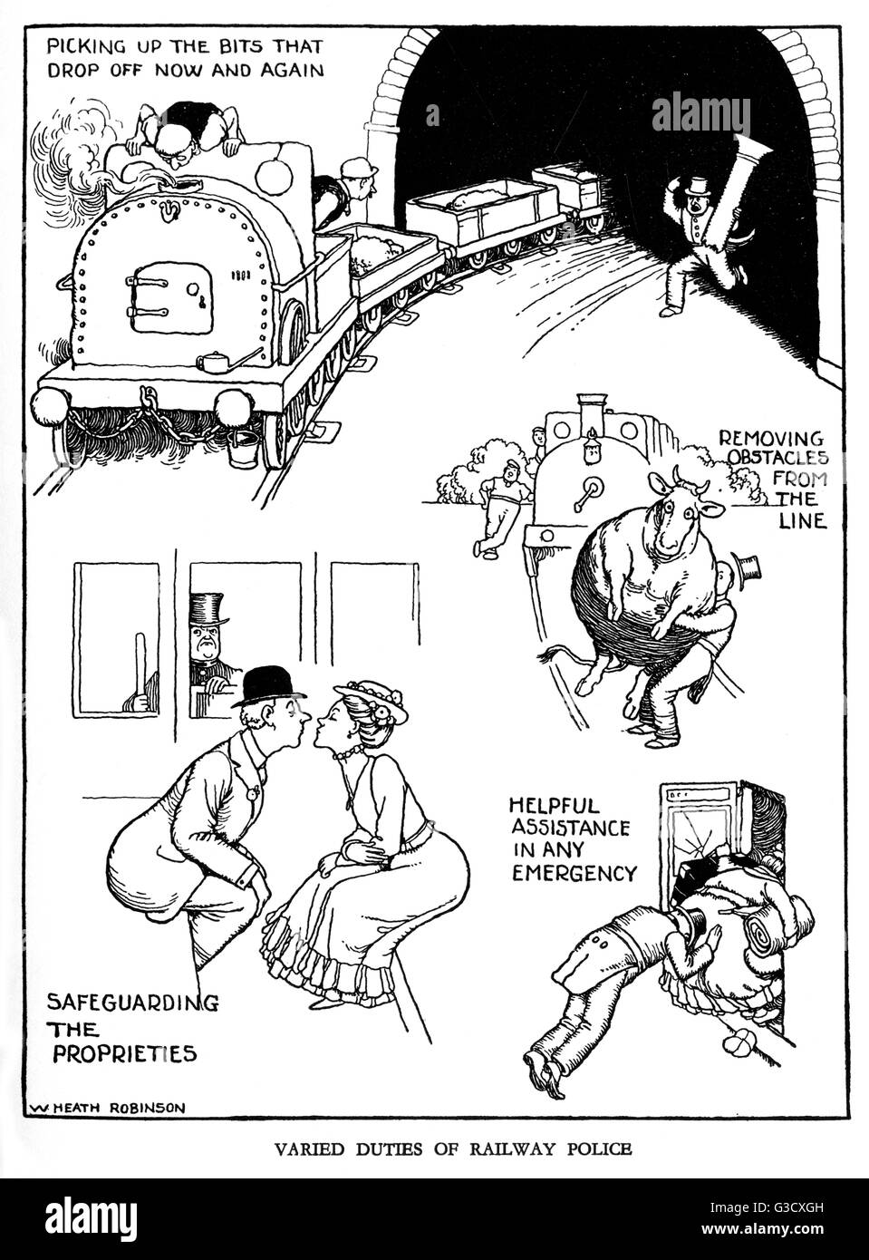 Illustration, Railway Ribaldry by W Heath Robinson -- Varied duties of railway police.       Date: 1935 - Stock Image
