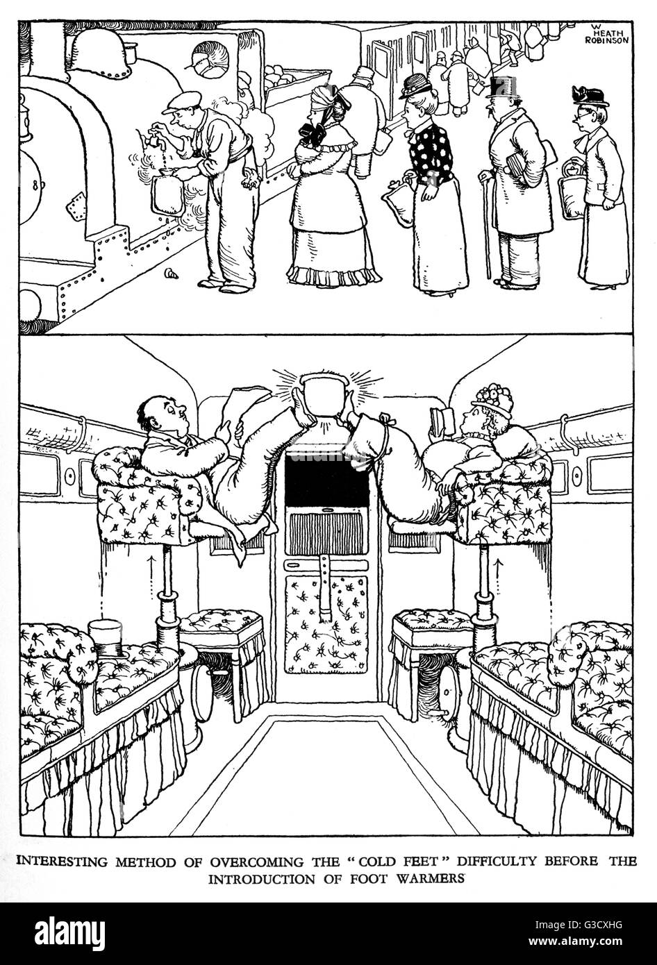 Illustration, Railway Ribaldry by W Heath Robinson -- Interesting method of overcoming the 'cold feet' difficulty - Stock Image