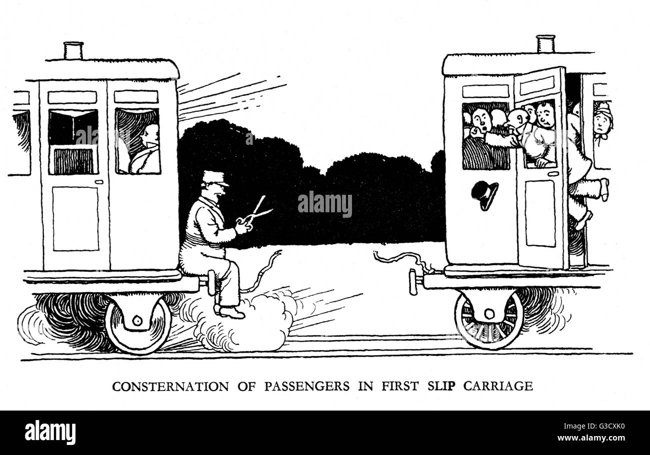 Vignette illustration, Railway Ribaldry by W Heath Robinson -- Consternation of passengers in first slip carriage. - Stock Image