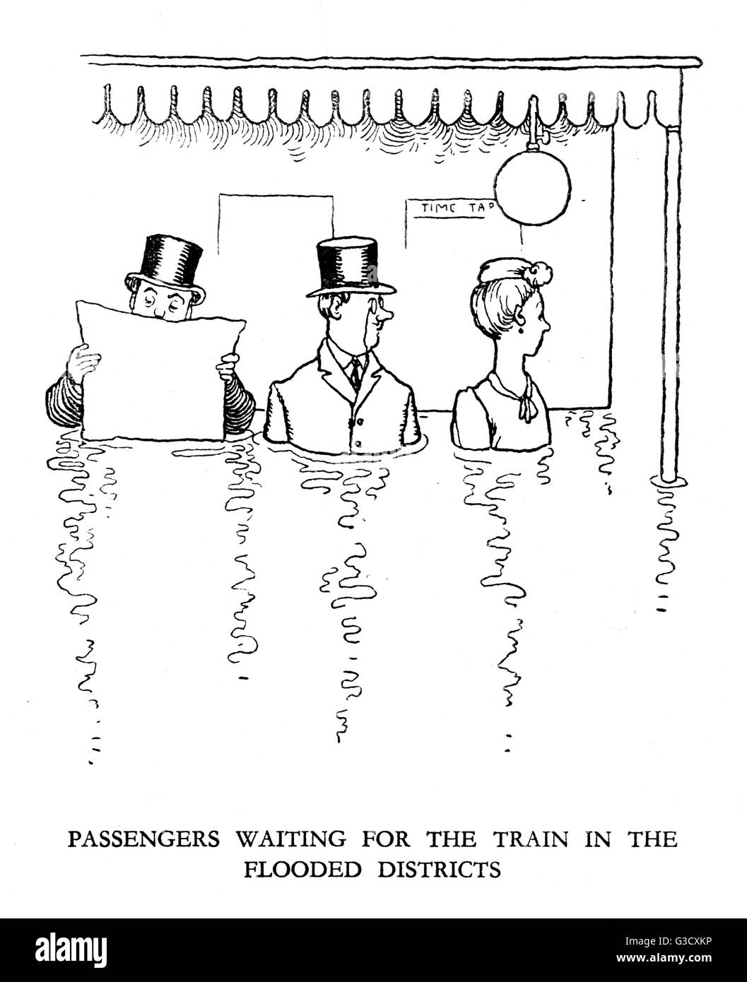 Vignette illustration, Railway Ribaldry by W Heath Robinson -- Passengers waiting for the train in the flooded districts. - Stock Image