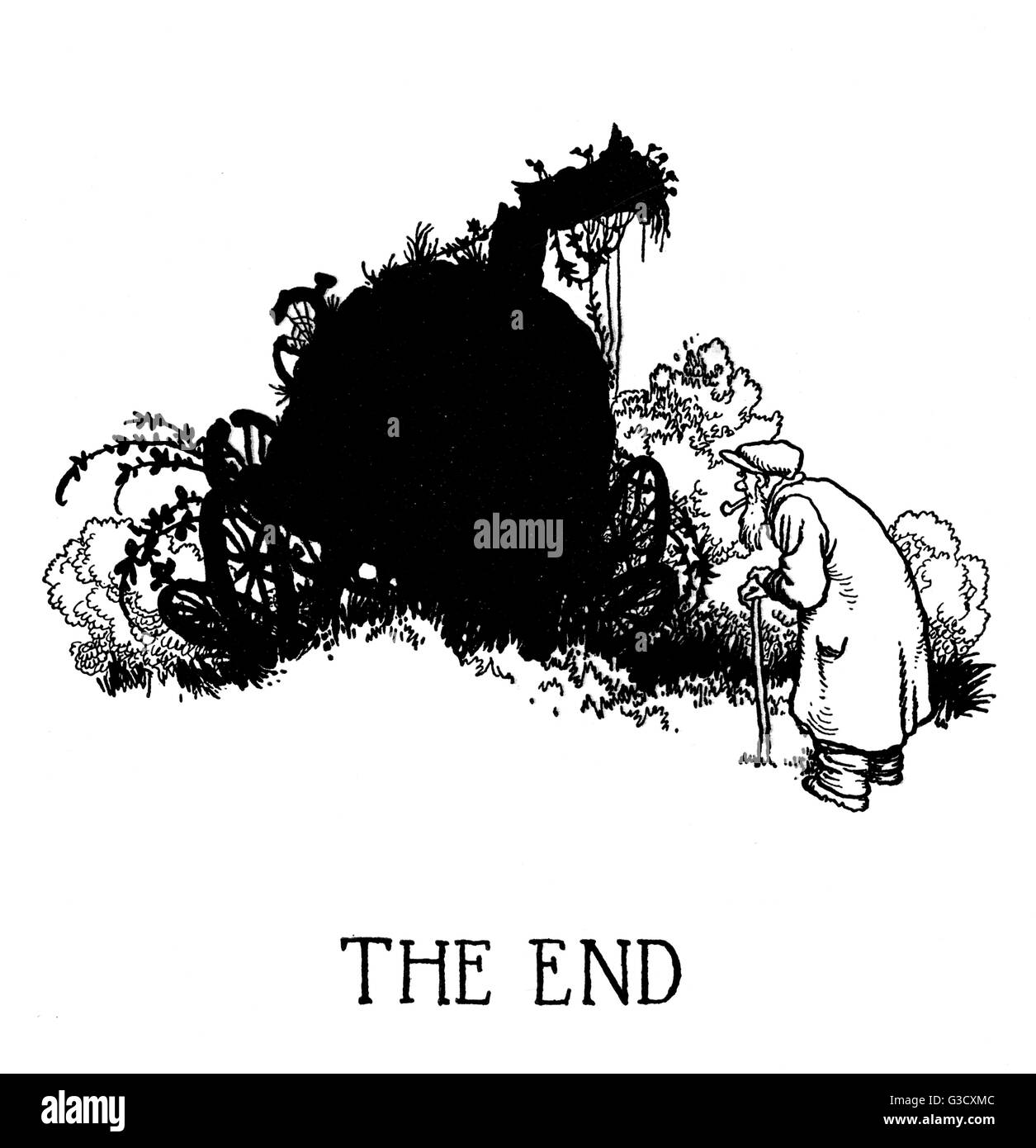 Final illustration, Railway Ribaldry by W Heath Robinson -- The End.  An old man looks at a broken-down old engine - Stock Image