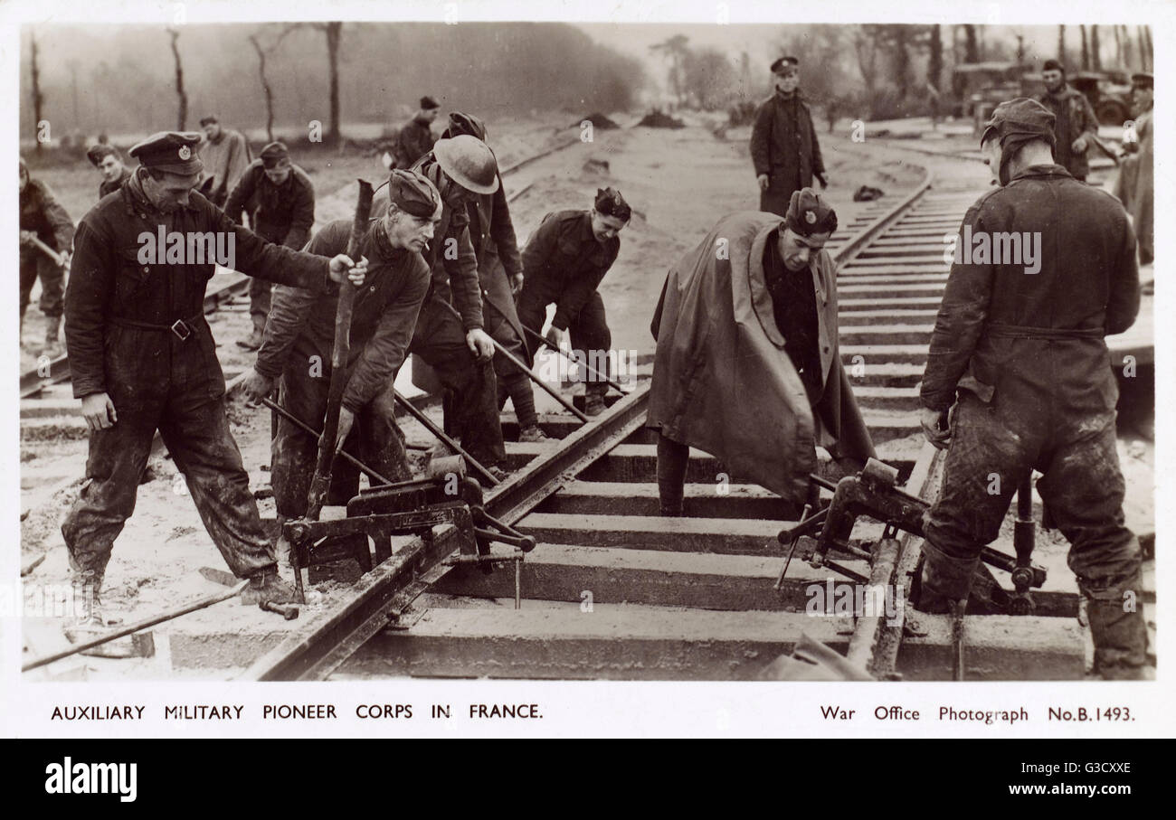 WW2 - British Auxiliary Military Pioneer Corps in France - shown here building railway sidings.     Date: 1942 - Stock Image