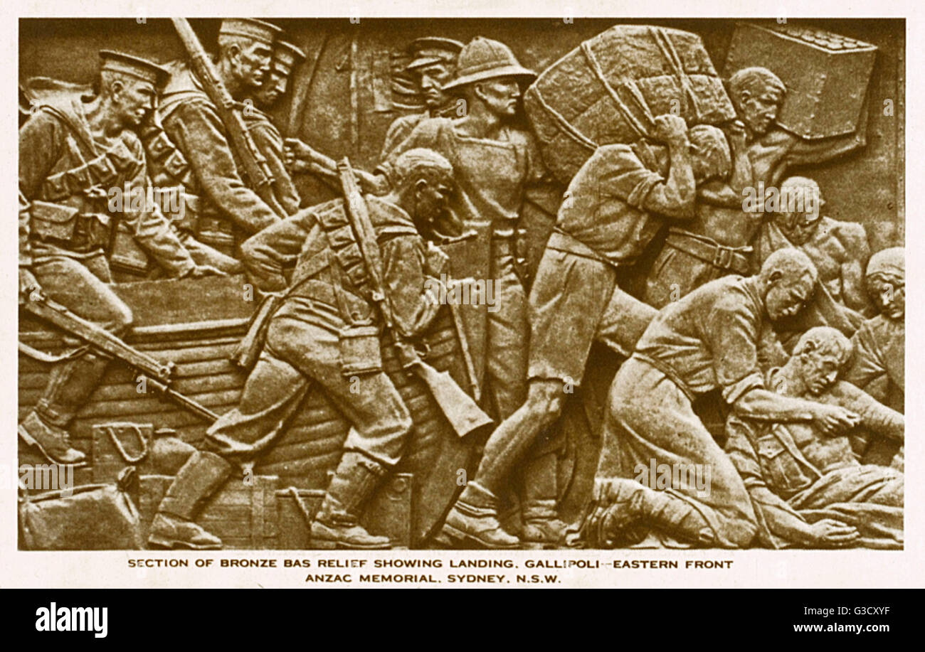 Bronze Bas relief from the Anzac War Memorial by Rayner Hoff - Hyde Park, Sydney, Australia - showing the landing Stock Photo