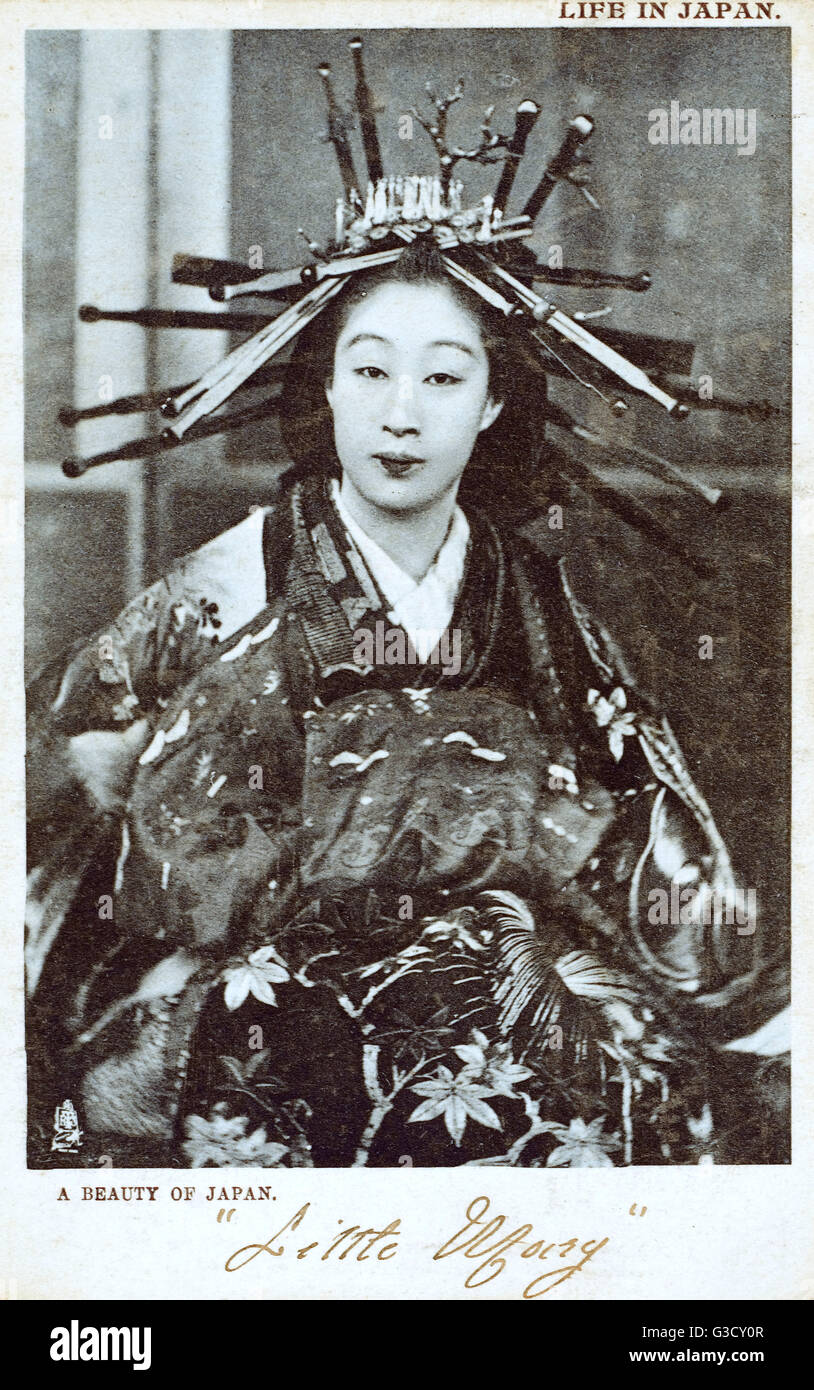 Japan - Geisha Girl with elaborately pinned hair.     Date: circa 1903 - Stock Image