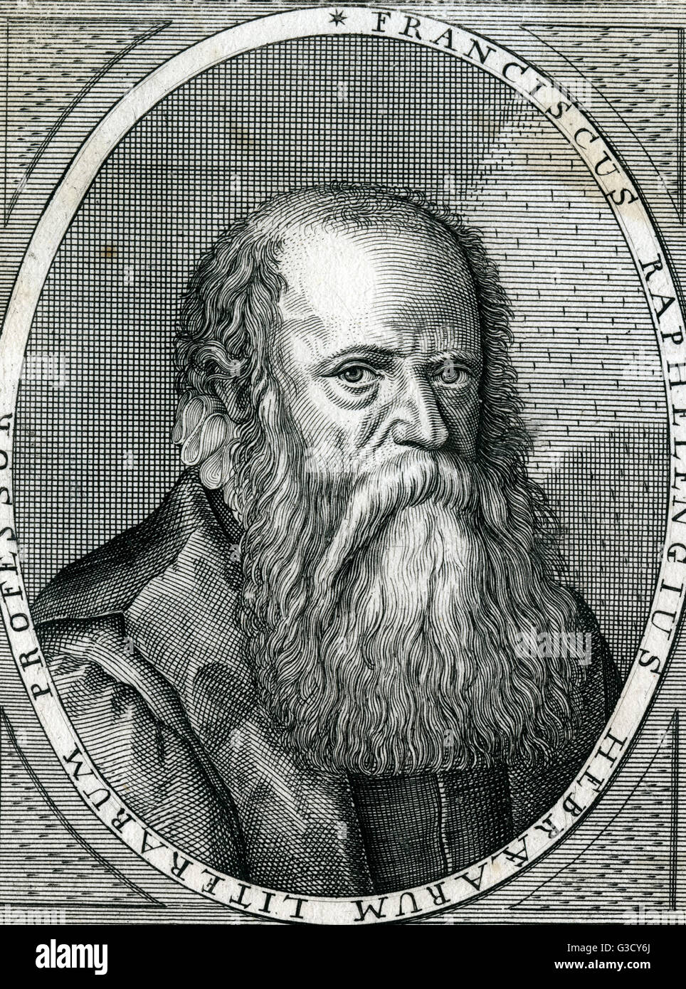 Franciscus Raphelengius (1539 - 1597) was a  Dutch scholar, printer and bookseller. He is the writer of the Arabic - Stock Image