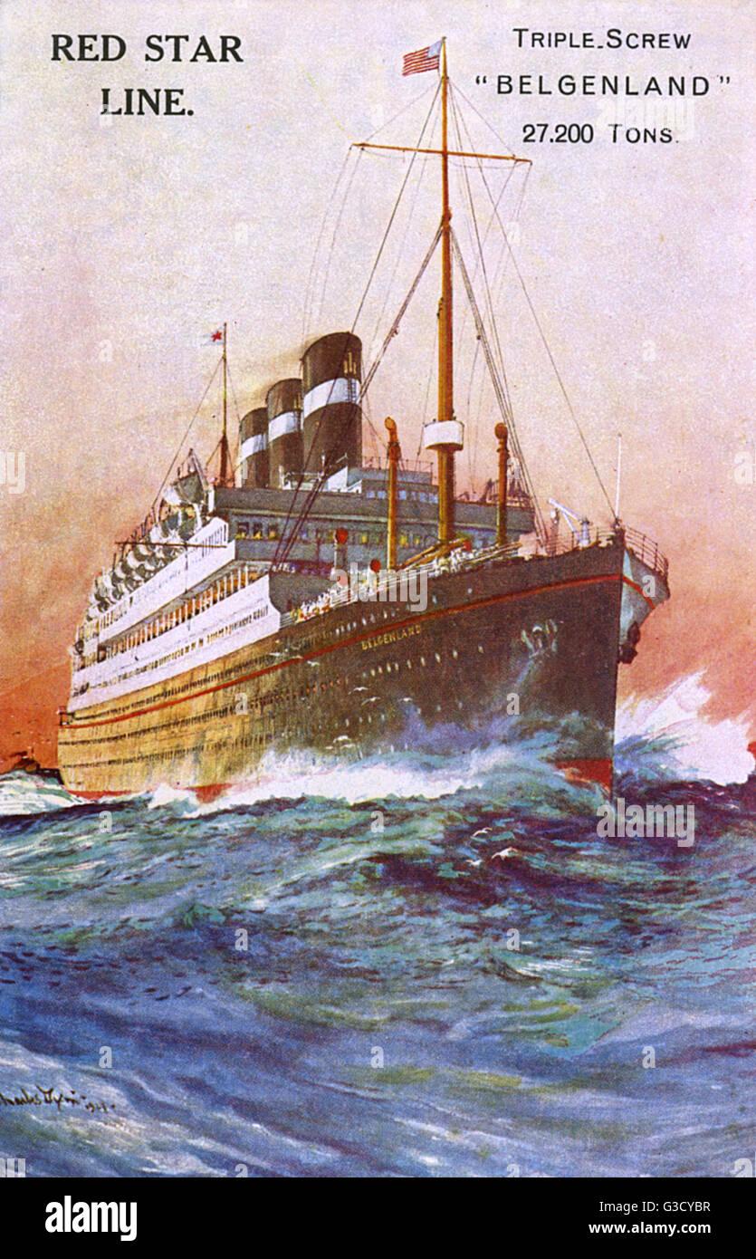 Red Star Line Ocean Liner, ' Triple Screw, Belgenland, 27,200 Tons'.     Date: 1921 - Stock Image
