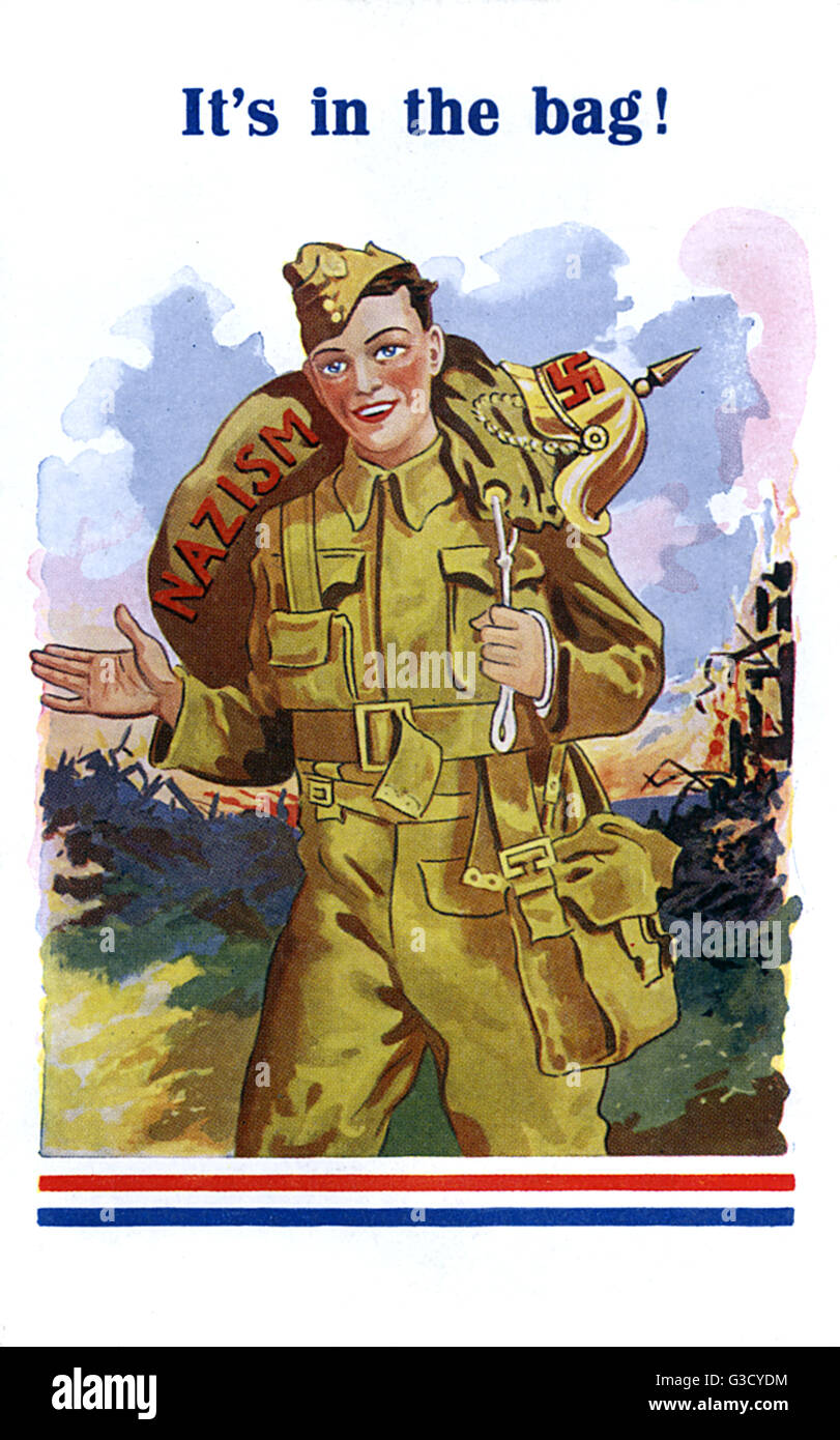 WW2 - British Soldier has Nazism 'in the bag' ! A very optimistic postcard published early in the war, predicting - Stock Image