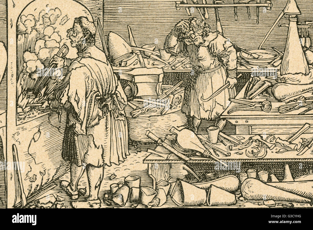 An alchemist works at his furnace while his assistant feels the heat      Date: 1537 - Stock Image
