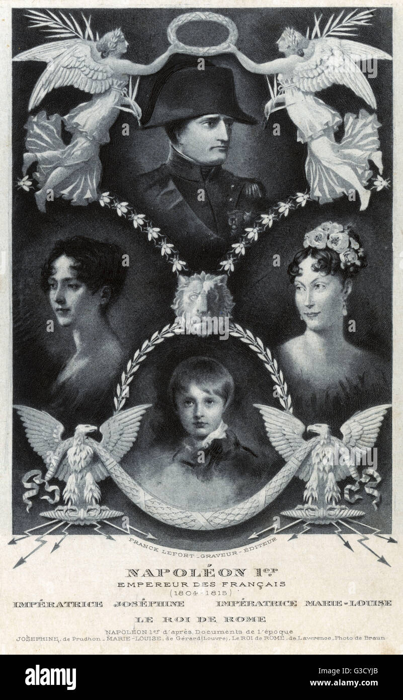 Napoleon Bonaparte, Emperor of France (1769-1821), pictured with his two wives, Empress Josephine (de Beauharnais) Stock Photo