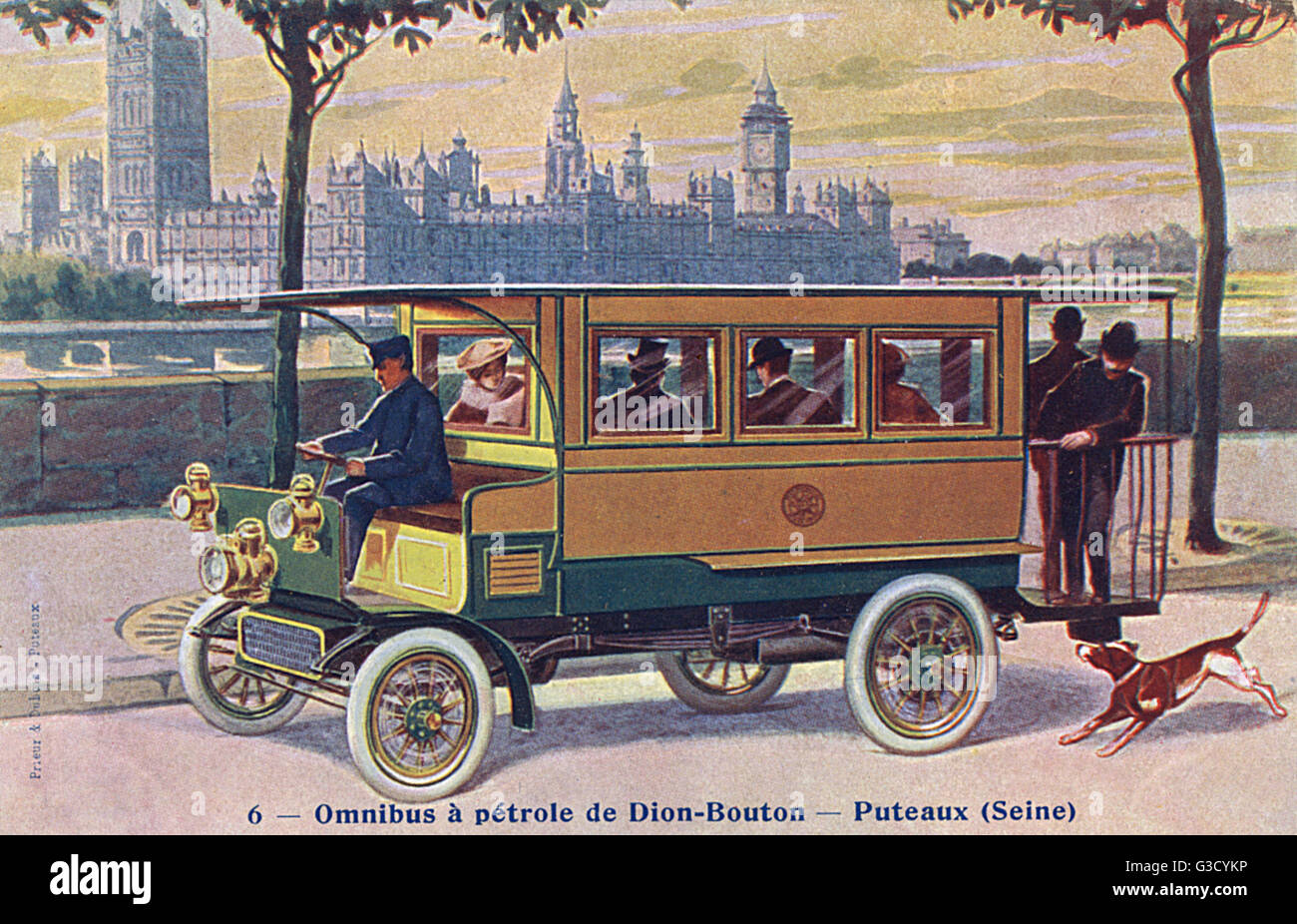 Early petrol bus in London - made by de Dion-Bouton     Date: circa 1907 - Stock Image