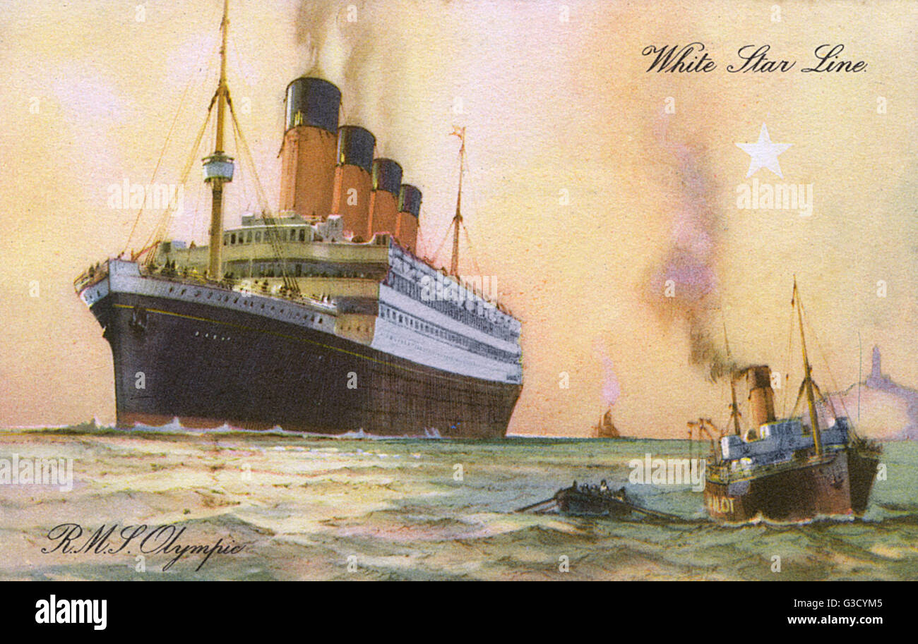 RMS Olympic - Ocean Liner for the White Star Line (sister ship of the ill-fated RMS Titanic).     Date: circa 1920s - Stock Image