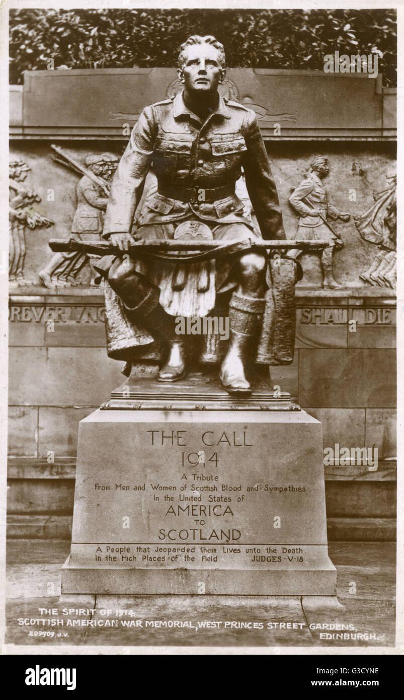 Scottish American War Memorial (1927), West Princes Street Gardens, Edinburgh - The Spirit of 1914. The Sculptor Stock Photo