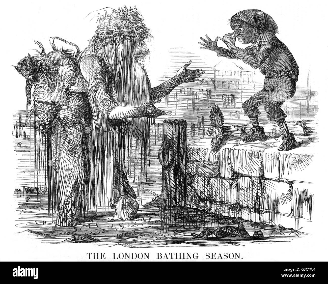 The London Bathing Season cartoon. The figure of Father Thames, filthy and carrying a dead cat, a bent kettle, and - Stock Image