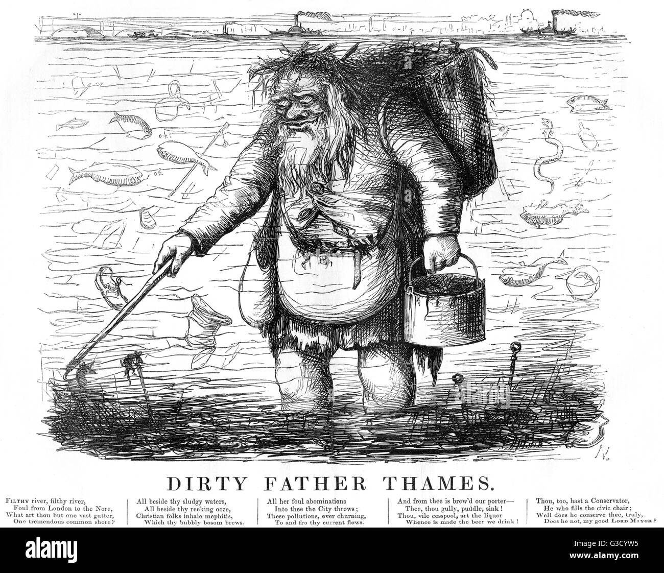 Dirty Father Thames stands in the river water hooking detritus and rubbish that's floating there: old shoes - Stock Image