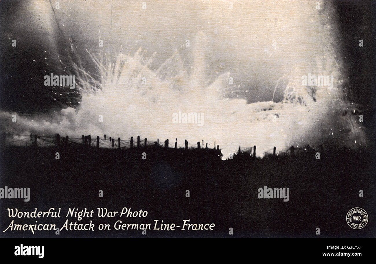 American attack on the German Front line - France - WW1     Date: circa 1917 Stock Photo