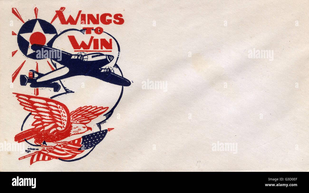 WW2 - American Propaganda Envelope - Wings to Win     Date: circa 1943 - Stock Image
