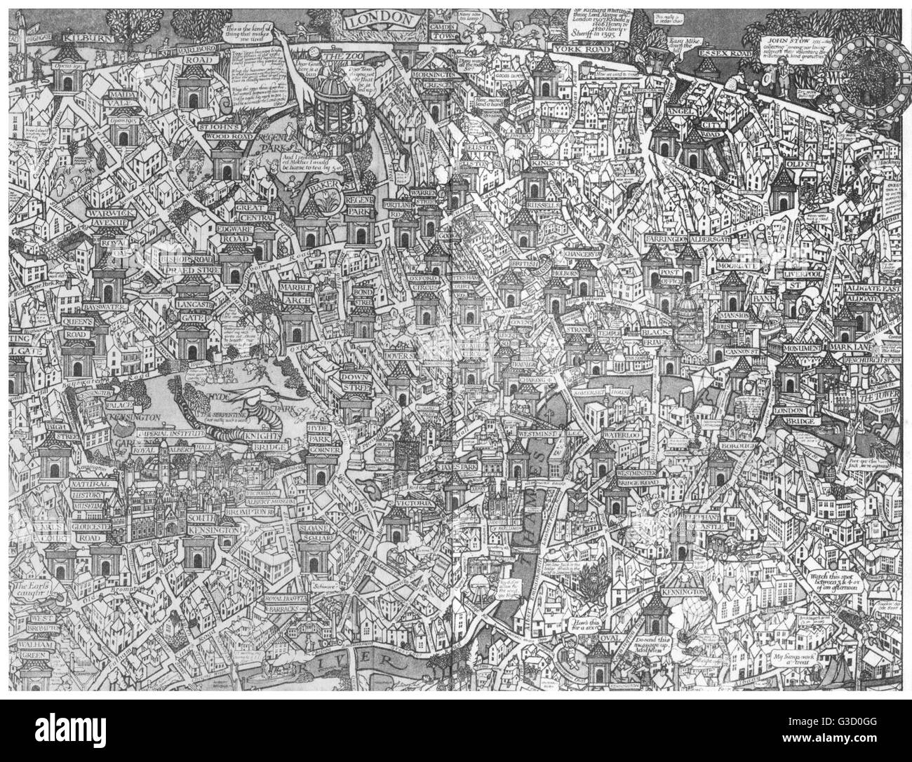 Map of London, showing the River Thames with numerous bridges, parks and major buildings.      Date: 1916 - Stock Image