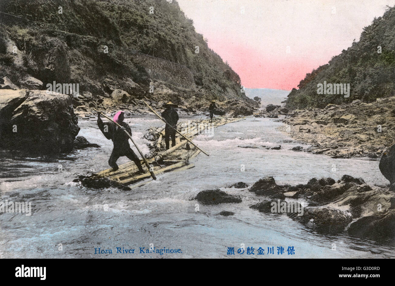 Japan - Poling rafts along the Hozu River - a part of Katsura River in Kyoto Prefecture, Japan     Date: circa 1910s - Stock Image