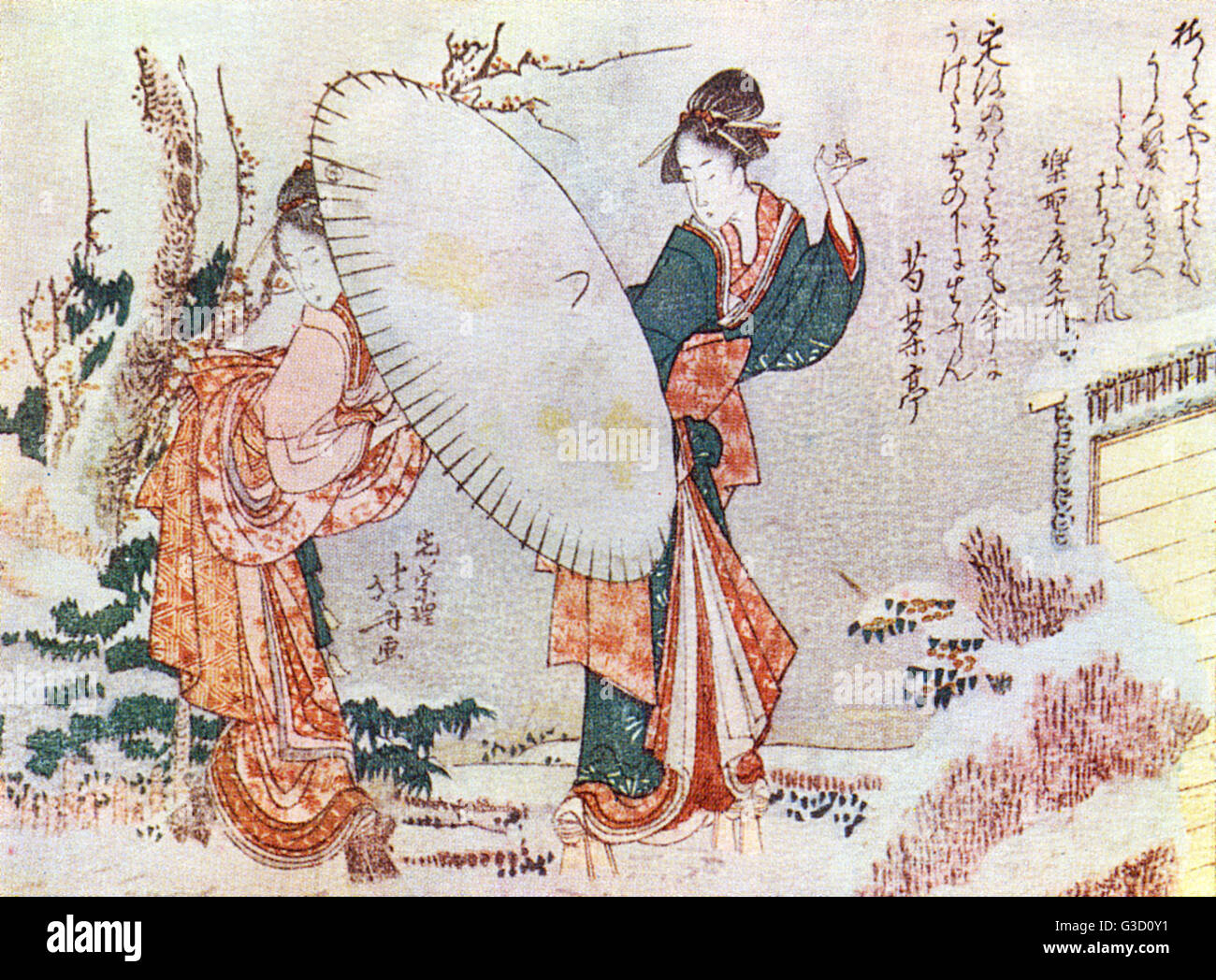 Reproduction of a woodcut by Katsushika Hokusai (1760 - 1849) entitled: 'Girl walking in the snow'     Date: - Stock Image
