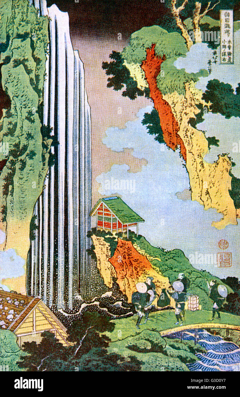 Reproduction of a woodcut by Katsushika Hokusai (1760 - 1849) entitled: 'The Waterfall at Ono'.     Date: - Stock Image