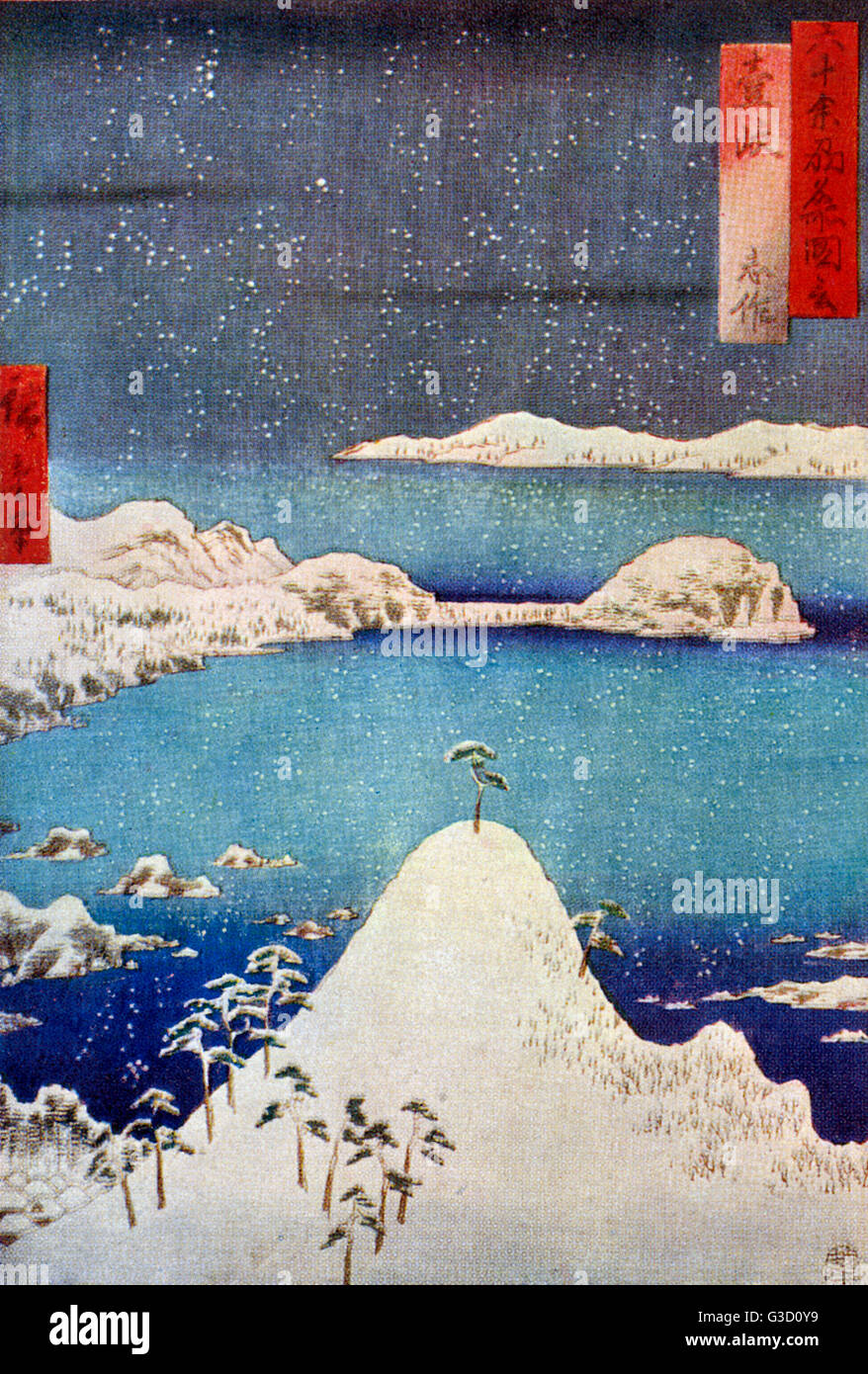 Reproduction of a woodcut by Ando Hiroshige (1797-1858) entitled 'Shisaku in Snow'.     Date: circa early - Stock Image