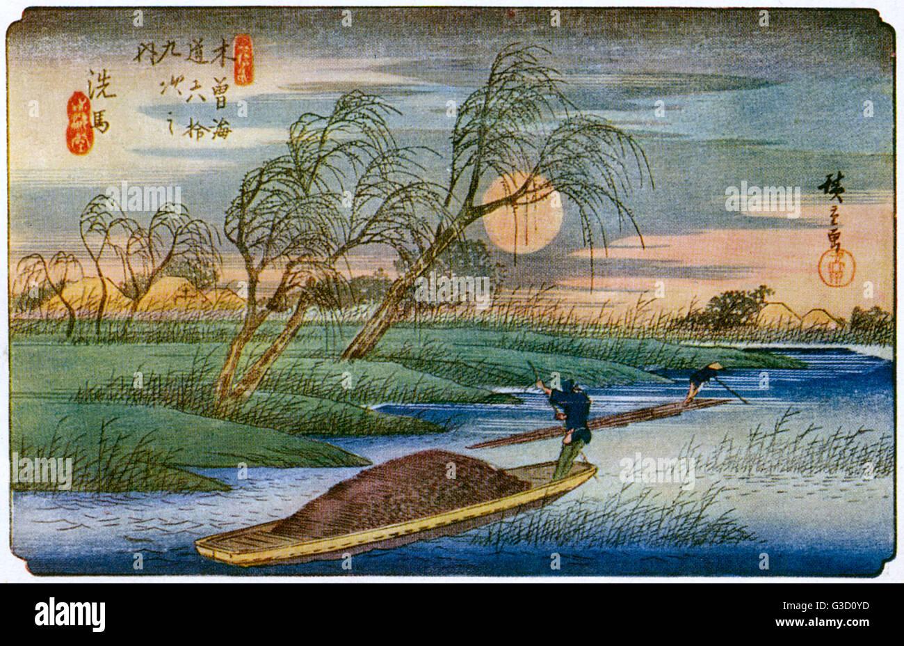 Reproduction of a woodcut by Ando Hiroshige (1797-1858) entitled: 'Seba: Moorise'.     Date: circa early - Stock Image