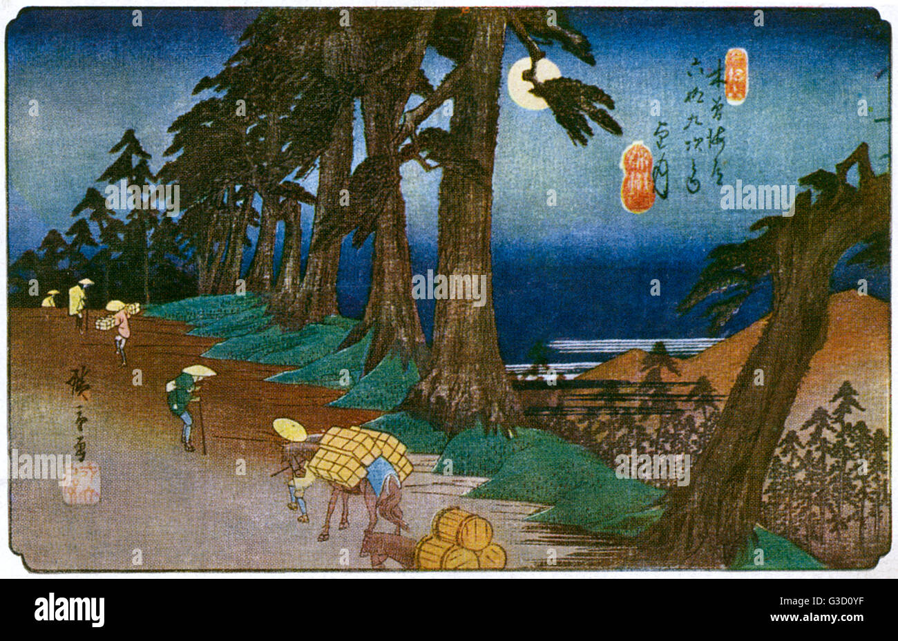 Reproduction of a woodcut by Ando Hiroshige (1797-1858) entitled: 'Mochizuki: Moonlight'.     Date: circa - Stock Image