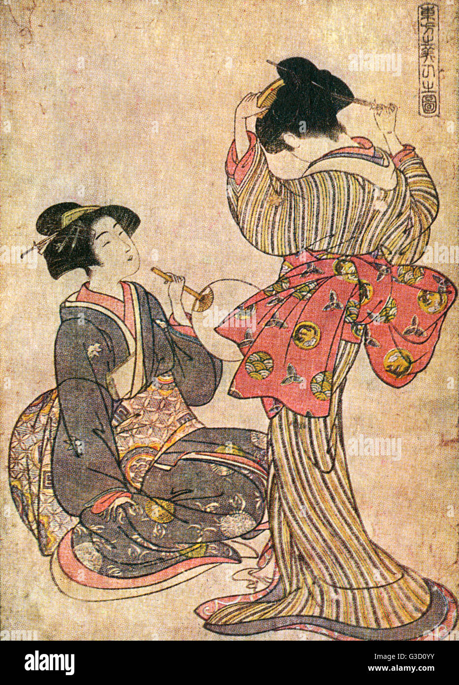 Reproduction of a woodcut by Kitao Shigemasa (1739-1820) entitled: 'Two Girls'.     Date: circa late 18th - Stock Image