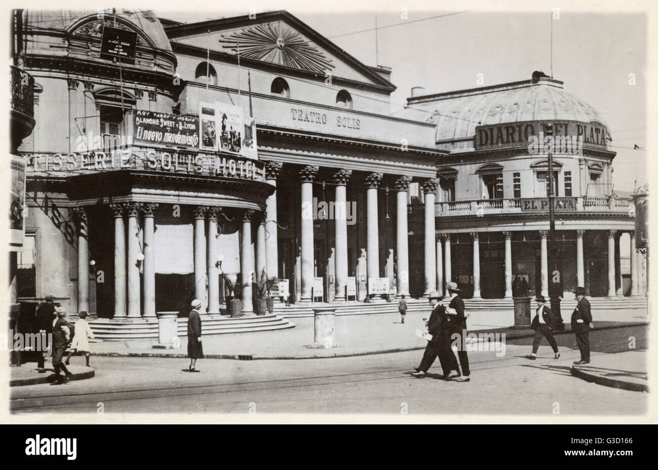 Solis Hotel, Teatro Solis (theatre and cinema) and Diario del Plata (newspaper office), Montevideo, Uruguay, South - Stock Image