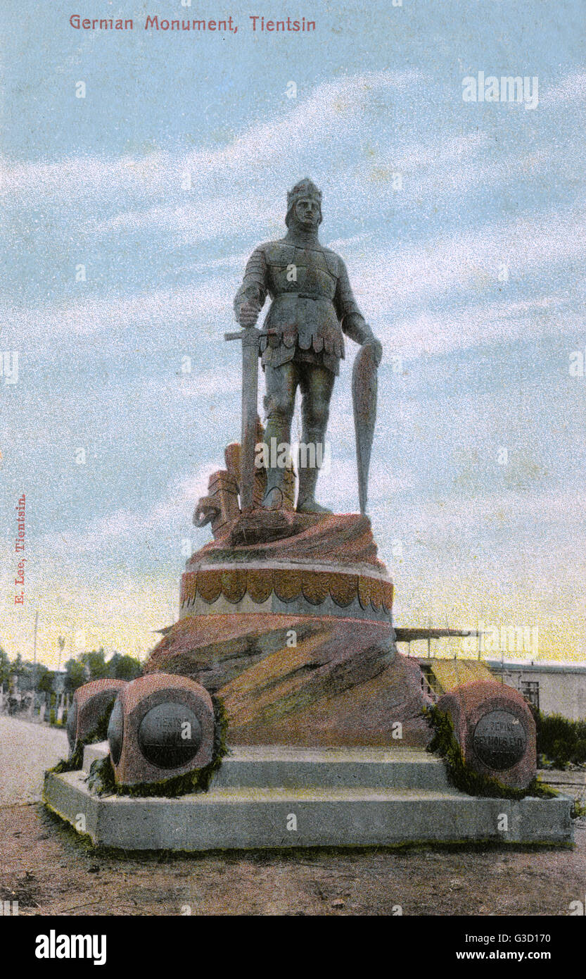 German monument with a statue of a soldier in medieval armour with sword and shield, Tianjin (Tientsin), northern - Stock Image