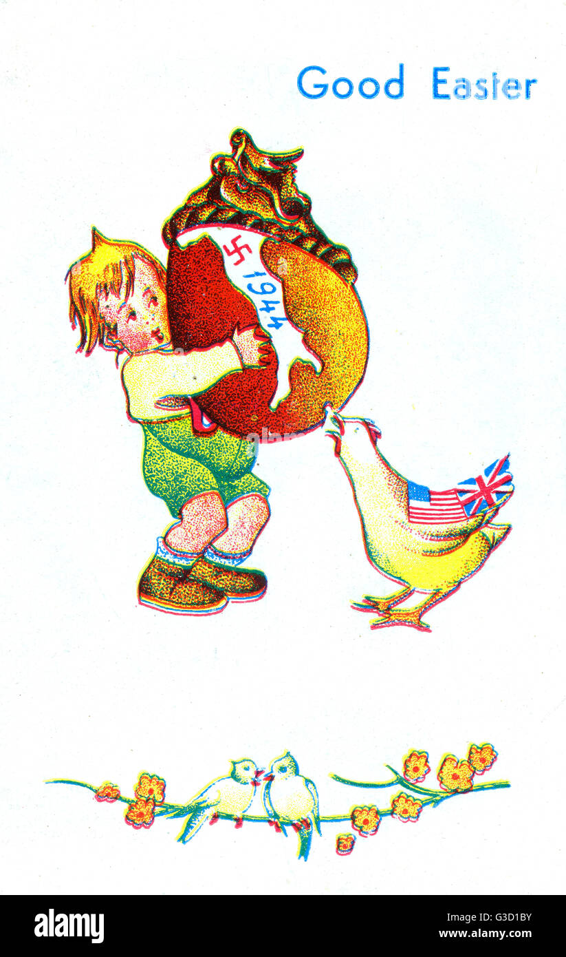 WW2 - Easter card with propaganda angle - The Allied 'hen' is nibbling at the soft underbelly of the Axis, - Stock Image