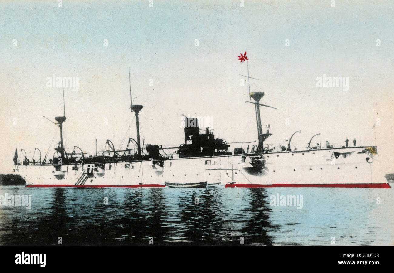 The Protected Cruiser Chiyoda of the Imperial Japanese Navy (IJN) - which served in the First Sino-Japanese War, Stock Photo