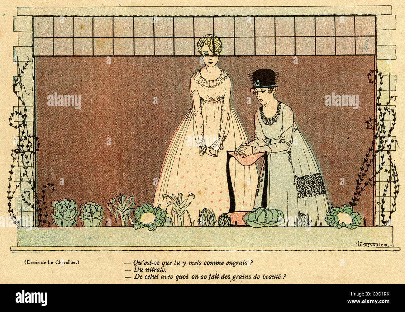 Cartoon, Growing vegetables. Two fashionable young women inspect a ...