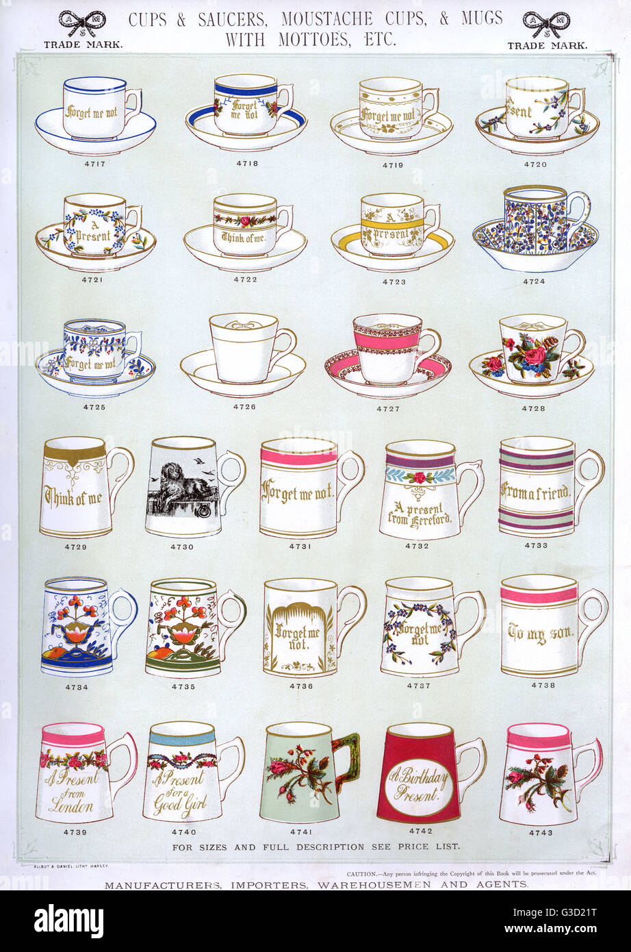 Cups and Saucers, Moustache Cups, Mugs with Mottoes, Plate 35, showing patterned cups, saucers and mugs.      Date: - Stock Image