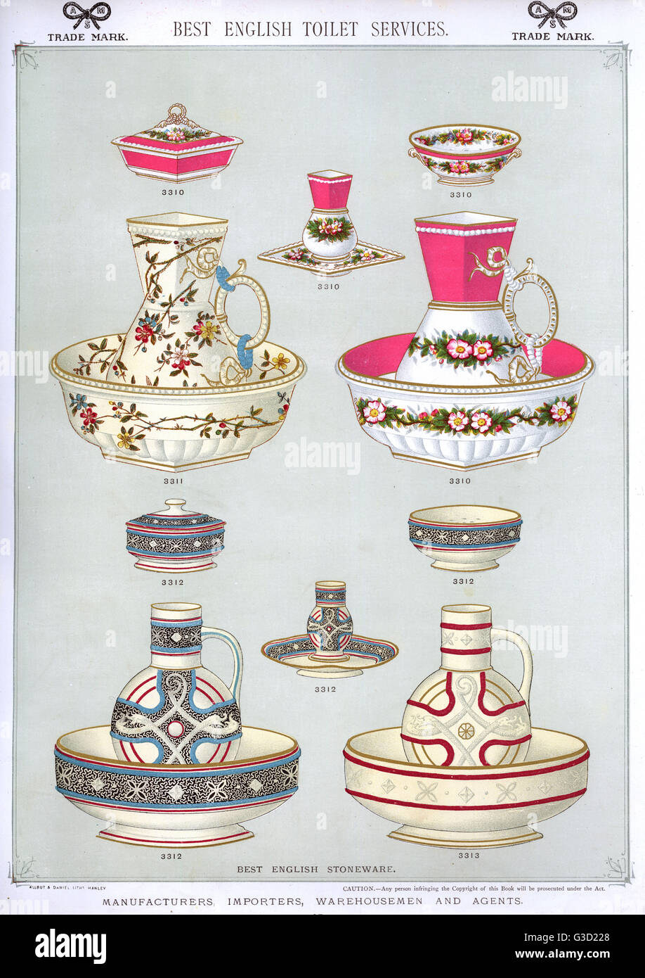 Best English Toilet Services, Plate 47, showing patterned washing bowls, jugs and soap dishes.      Date: circa - Stock Image