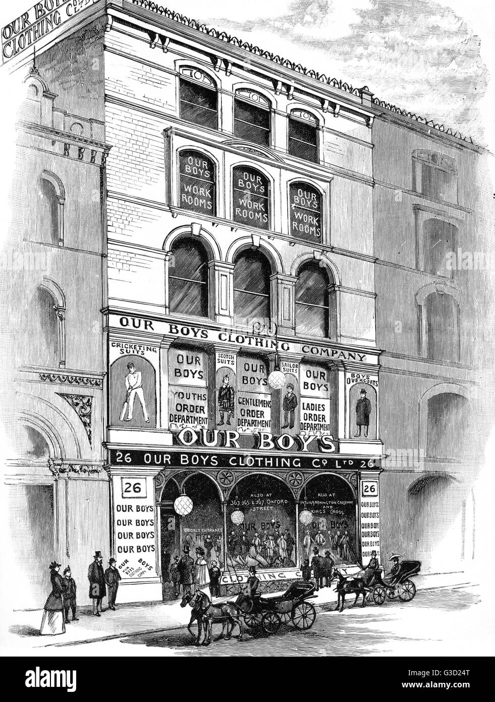 View of Premises at 26, Holborn Viaduct, London. Image of the outside of Our Boys Clothing Company from outside. - Stock Image