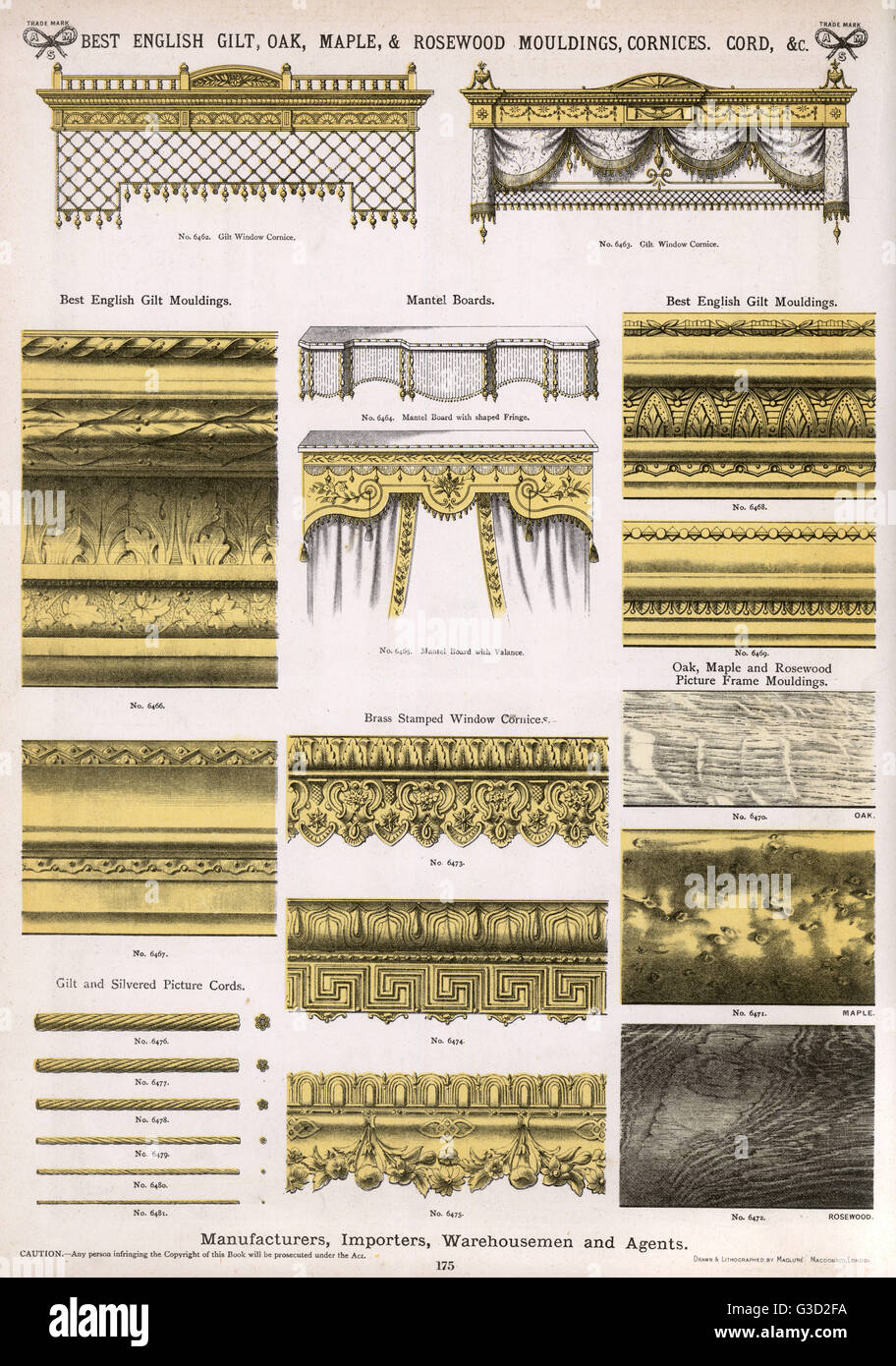 Best English gilt, oak, maple and rosewood mouldings, cornices, picture cords, etc, Plate 175, showing a range of - Stock Image