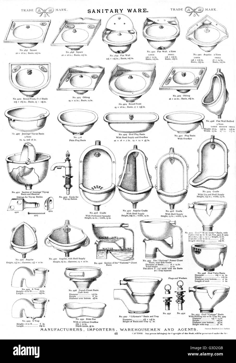 Sanitary ware, Plate 42, showing wash basins, urinals and toilet bowls in a range of styles.      Date: circa 1880s - Stock Image