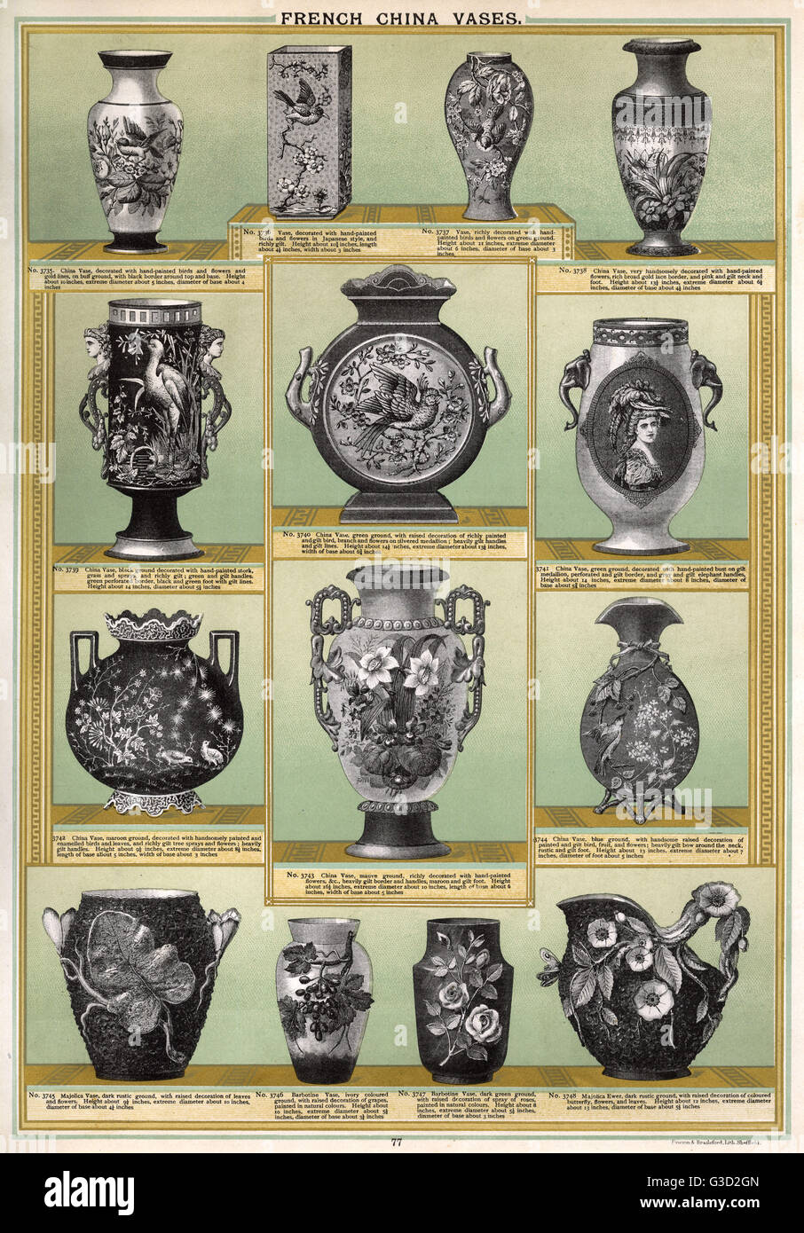 French China Vases, Plate 77, showing ornately decorated vases in different shapes and styles.      Date: circa - Stock Image