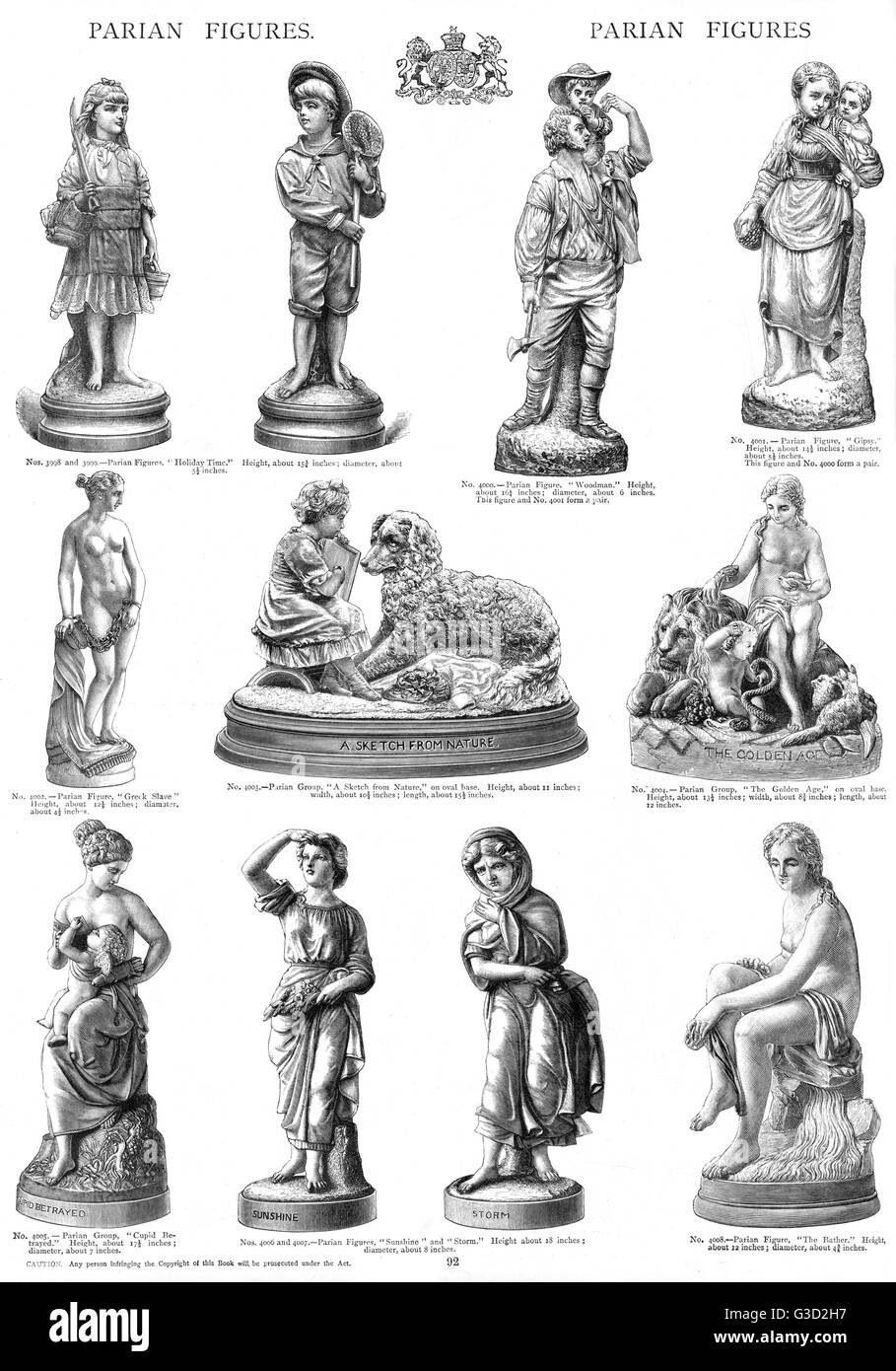 Parian figures, Plate 92, human figures (adults and children).      Date: circa 1880s - Stock Image